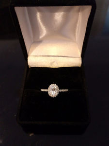 0.9 ct Halo moissanite ring for sale