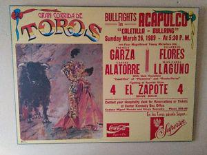 80,s and 90,s bull fighting mounted prints