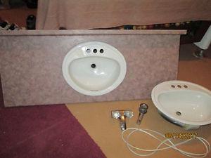 Bathroom Counter Top, Two Bathroom Sinks & One Set Bathroom