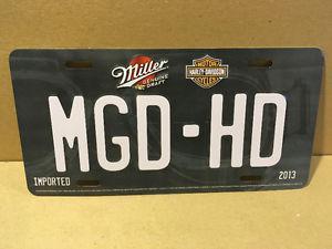Harley Davidson & Miller Genuine Draft Beer Flag & Licence