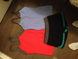 Ladies size 4 Lululemon tanks and pair of shorts