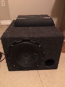 "Selling my 10"" Rockford fosqate sub an MTX 400 watt amp"