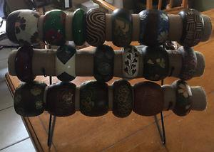 19 bracelets made of wood for crafts or to refinish