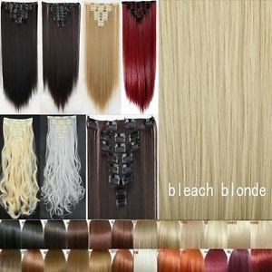 8PC Full Head Long Straight Hair Extensions Heat Resistant