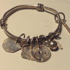ANTIQUE CHINESE STERLING BANGLE BABY ANKLET.