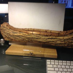 ANTIQUE Canada Birch Bark Canoe Native Indian Hand Made