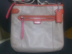 AUTHENTIC COACH BAG/PURSE BEIGE/PINK/ORANGE LEATHER, NO