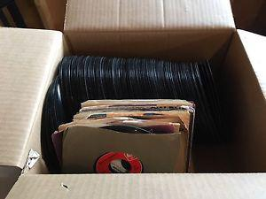 Box of 45rpm records various artists 60s'-80s