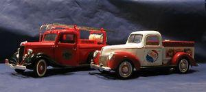 Cast Over Plastic Pepsi Bank Truck and Firetruck