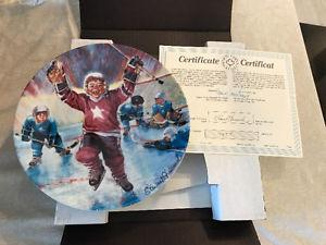 """Dominion China """"Face-Off"""" hockey plate collection"""