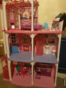 Electronic Barbie house and extras