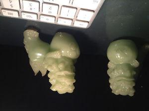 Foo/Fu Dog Chinese Lion Bookends Jade Green Color Resin