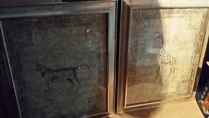 Giraffe and lion gold frame prints 46x each