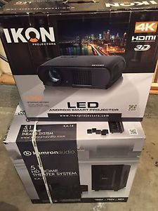 """Ikon IKK Projector, 72"""" screen and 5.1 home theatre"""