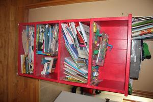 Nice bright red wooden book shelf great for storage kids