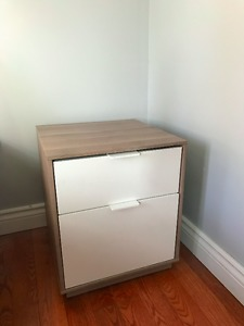 Nightstand- Modern, Grey Wood/white, silent drawers