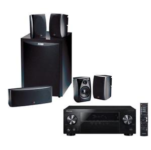 Pioneer home theatre with amp and 4 Polk speaker with stands