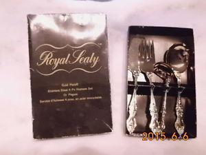 Royal Sealy Gold Plated 4 pc hostess set