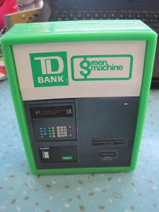 Vintage TD Bank Green Machine Coin Organizer Piggy Bank