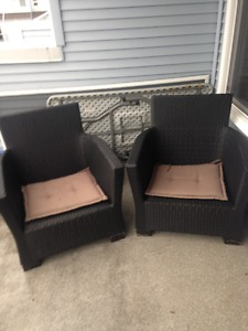 brown resin deck chairs