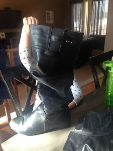 Black wide calf boots size 12