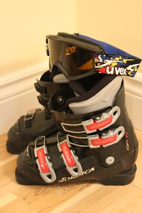 Children's Downhill Ski Boots and Goggles