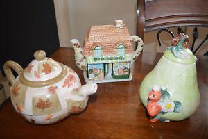Collection of three unique teapots