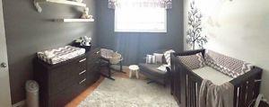 Custom baby fabric layette crib bedding grey and white