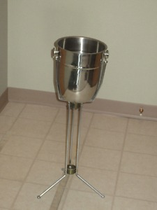 Elegant Stainless Steel Wine Bucket with a Stand