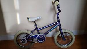 Girls 14 inch Purple bike with training wheels