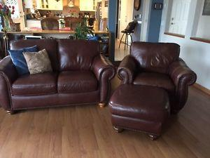 Leather Chair with Ottoman and Love seat
