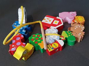 Melissa and Doug wooden lacing animals