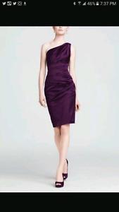 New! Davids Bridal navy stretch satin dress size 14