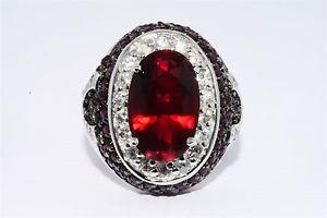 RUBY & WHITE SAPPHIRE RING SIZE 8.25