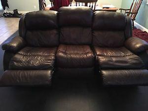 Real brown leather sofa and chair
