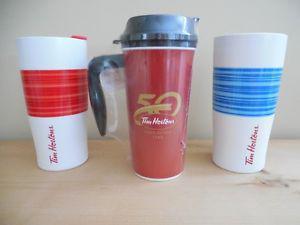 2 Tim Horton Ceramic Mugs and 1 Take Out Mug
