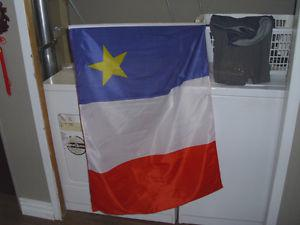 Acadian flag with 2 mini flag for car window