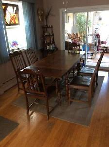 Antique Dining Table, Buffett and Hutch (120 years old)