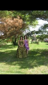 Iridescent green graduation dress