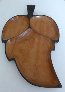 Large Vintage Wooden Leaf Shaped Divided Serving Tray
