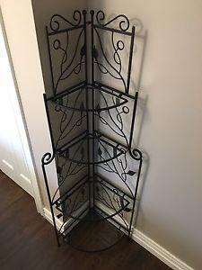 Rod iron corner shelf