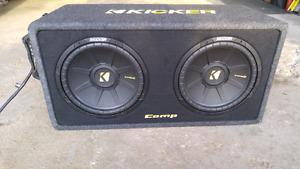 Subwoofers 2x12 inch kicker comp s. Amp and box included