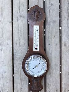 Vintage Aneroid Barometer Weather Station Thermometer Wood