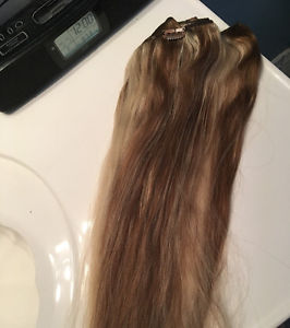 12 inch remy human hair extensions ash blonde / dark blonde