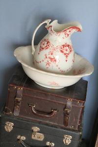 Beautiful Antique Rose coloured Pitcher & Wash Basin