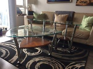 Glass-top Coffee and End Tables