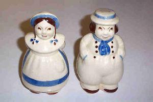 Old Range Top Shawnee Pottery Dutch Girl Boy Salt Pepper