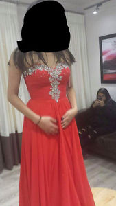 Red Chiffon Grad Dress