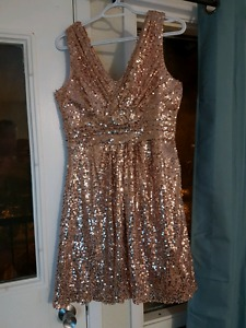 Rose Gold Sequence Prom Dress Size 12