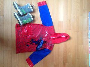 Youth Spider-Man rain jacket and boots